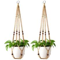 Mkono Macrame Plant Hangers Indoor Hanging Planter Basket with Wood Beads Decorative Flower Pot Holder No Tassels for Indoor Outdoor Home Decor 35 Inch, Brown Set of 2