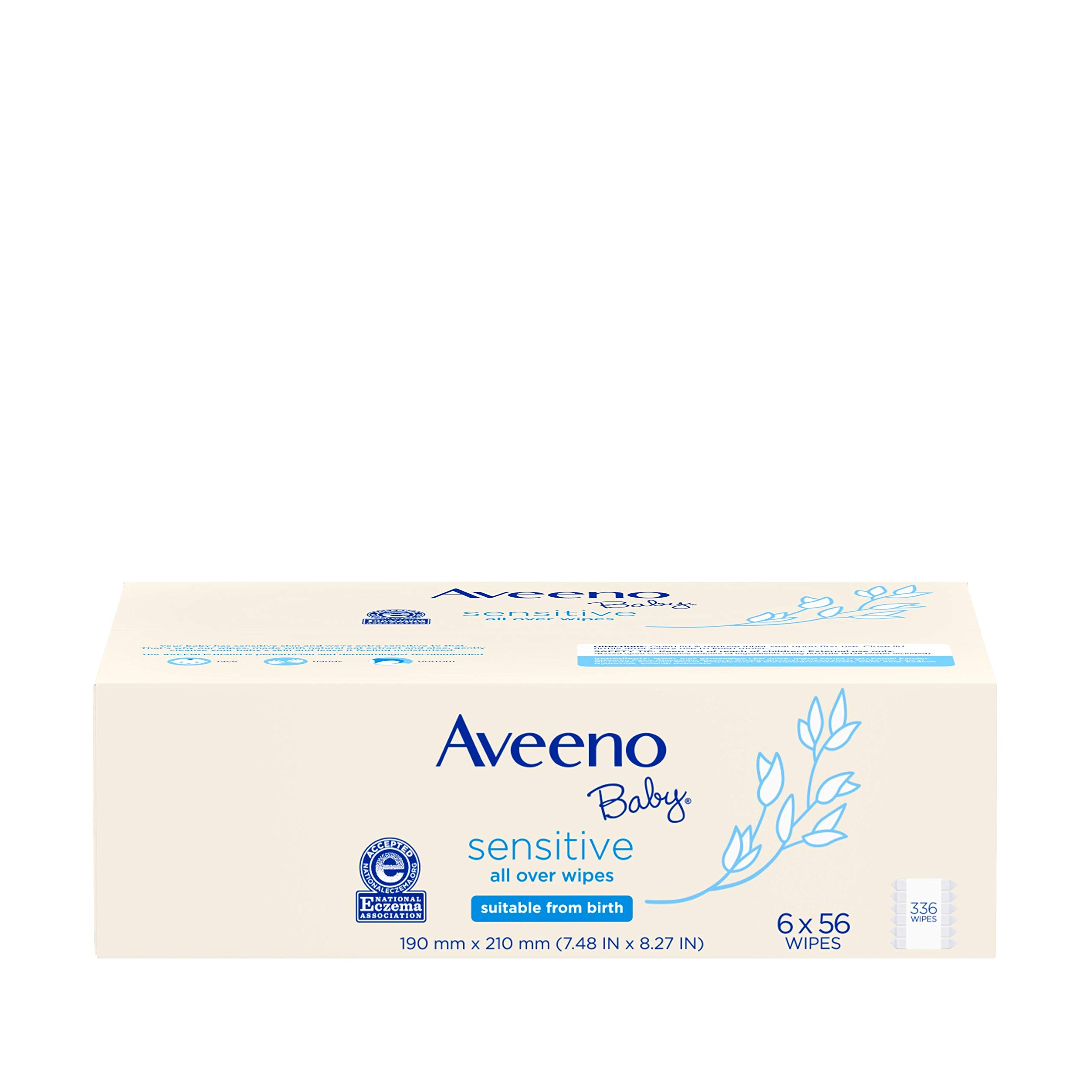 Aveeno Baby Sensitive All Over Wipes, Hypoallergenic & Fragrance-Free, 6 Pack of 56 Ct, 336Count