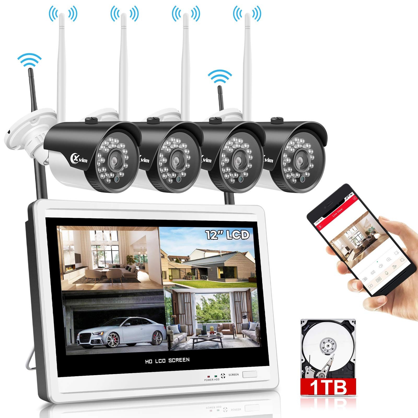 """XVIM 12"""" Monitor Wireless Security Camera System with 1TB Hard Drive for Home, 4pcs 2.0MP Outdoor Waterproof IP Cameras, 4 Channel HD 1080P WiFi Video Surveillance Cameras DVR Kits,Easy Remote View"""
