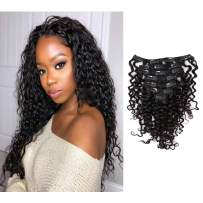 Loxxy Real Remy Water Wave Clip In Hair Extensions Natural Black #1B Double Weft Curly Clip In Human Hair Extensions For Black Women 7 Pieces 120Gram Per Set 12-22Inch(20 Inch Water Wave)