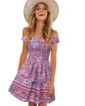 SOLERSUN Women's Summer Vintage Casual Off Shoulder Floral Print Ruffle Beach Mini Dress