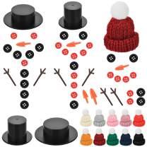 Souarts 605 PCS DIY Christmas Snowman Kit, Mini Knit Christmas Hats Snowman Buttons Noses, Mini Snowman Hats for Craft, for Christmas Snowman Crafting and Sewing Supplies