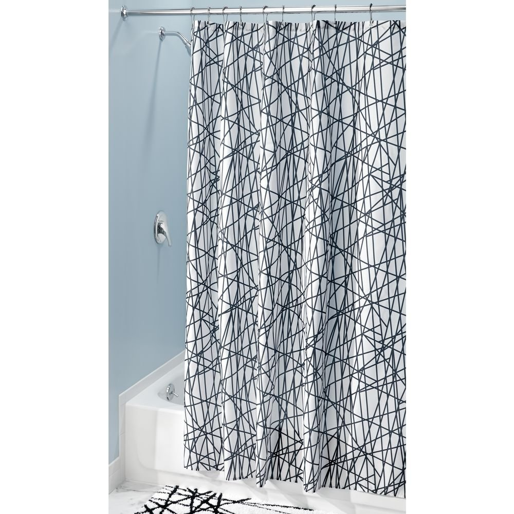"""iDesign Abstract Long Fabric Shower Curtain Water-Repellent and Mold- and Mildew-Resistant for Master, Guest, Kids', College Dorm Bathroom, 72"""" x 84"""", Black and White"""