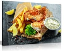 English Fish & Chips Shop Restaurant Food Canvas Wall Art Picture Print (30x20in)