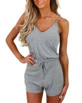 Auxo Women Short Romper Off Shoulder Sleeveless Lace V Neck Playsuit Summer Sexy Halter Cute One Piece Jumpsuit Jumper