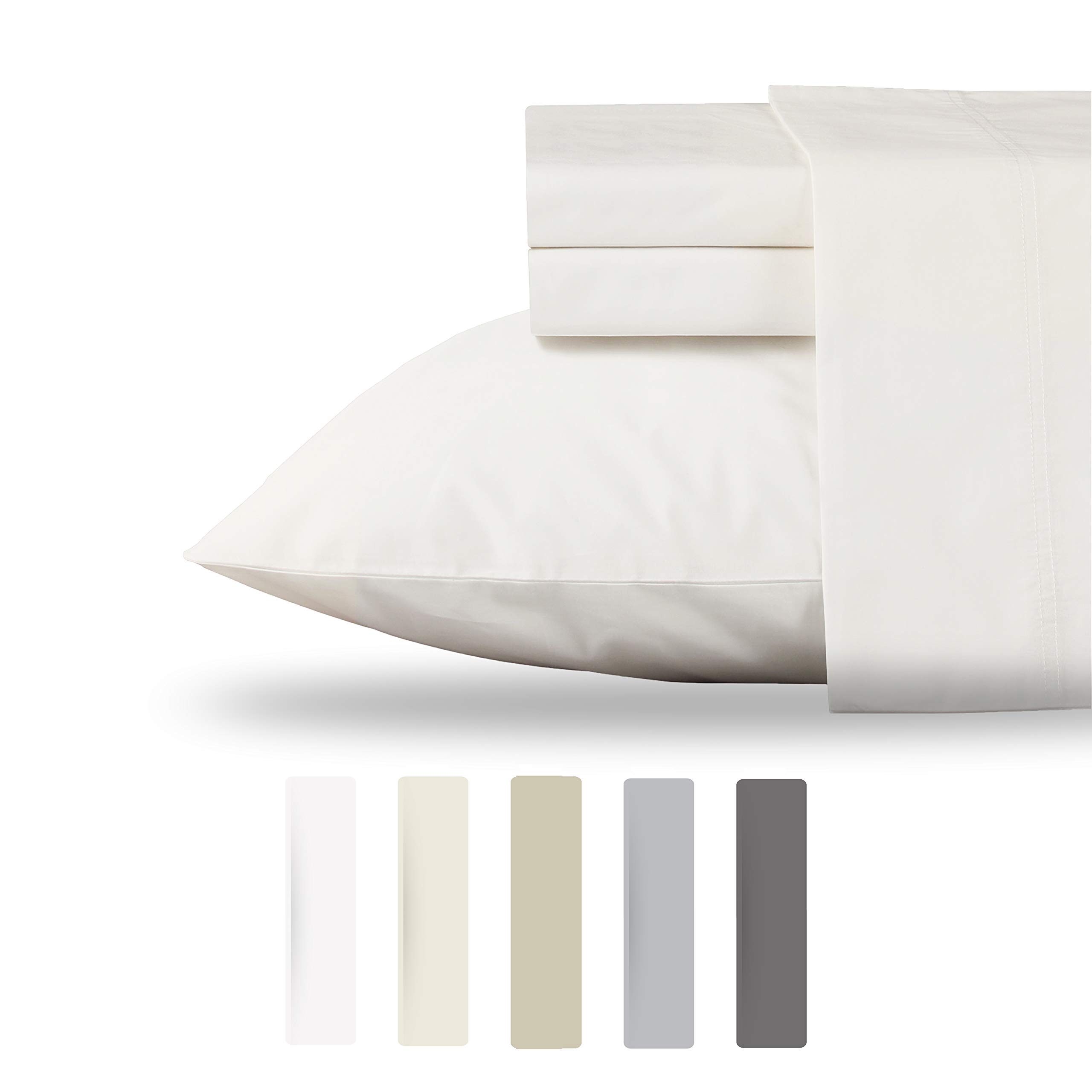 California Design Den 100% Organic Cotton Sheet Set - Crisp and Cooling Percale Weave, Eco-Friendly 3 Piece Bedding, Deep Pocket with All-Around Elastic (Twin, Natural Ivory)