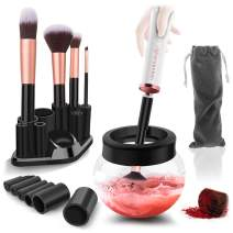 Urban Butterfly Electric Makeup Brush Cleaner Spinner, Deep Cosmetic Brush Cleaner Mat with 8 Size Rubber Collars