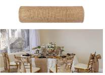 boyspringg Burlap Table Runner Roll 10 Yards Rustic Jute Country Thanksgiving Christmas Baby Wedding Party Decoration Table Decor