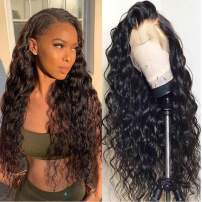 VIPbeauty Lace Front Human Hair Wigs for Black Women Brazilian 10A Water Wave 150% Density Virgin VIPbeauty Human Hair Glueless Lace Frontal Wigs with Baby Hair (18 Inch, Nature Color)