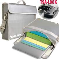 TRIKTON Fireproof Document Safe Bag with Lock TSA, XL Silver, Visible in The Dark, Stores Bulky Binders Without Fold Them, X-Large 15x12x3 Fire and Water-Resistant Briefcase | Lock Box for Documents