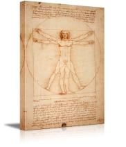 "Vitruvian Man by Leonardo Da Vinci Giclee Canvas Prints Wrapped Gallery Wall Art | Stretched and Framed Ready to Hang - 32"" x 48"""