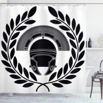 "Ambesonne Retro Shower Curtain, Greek Classic Mythological Hero Fighter Illustration Print, Cloth Fabric Bathroom Decor Set with Hooks, 84"" Long Extra, Black White"