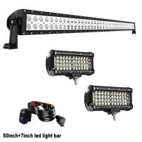 KEENAXIS DOT Approved 50Inch 288W LED Light Bar + 2PCS 7Inch Quad Row Light Bar + Rocker Switch Wiring Harness Kit for Truck SUV Polaris Ranger RZR Golf Cart 4x4