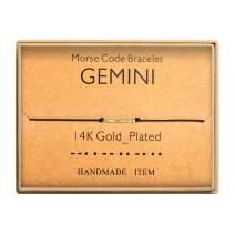 Morse Code Bracelet 14k Gold Plated Beads on Silk Cord Secret Message Gemini Zodiac Bracelet Gift Jewelry for Her