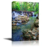 "Canvas Prints Wall Art - Deep Forest Waterfall in Kanchanaburi Province, Thailand| Modern Home Deoration/Wall Decor Giclee Printing Wrapped Canvas Art Ready to Hang - 48"" x 32"""