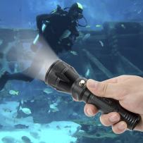 Reiled Scuba Diving-Flashlight XM-L2 Underwater Torch 100m Waterproof Submarine Diving Light Tactical Lamp Black(Battery & Charger Not Included)
