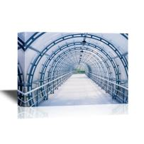wall26 - Watercolor Style Canvas Wall Art - Blue Glass Corridor in Office Centre - Gallery Wrap Modern Home Decor   Ready to Hang - 12x18 inches