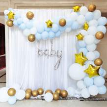 BONROPIN Balloon Garland Arch Kit 120pcs, 16ft Star Balloons Blue White and Metallic Gold Balloons, Party Supplies Decorations for Wedding Birthday Baby Shower Graduation Anniversary Organic Party