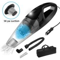 Beinhome Car Vacuum Cleaner, Handheld 120W DC 12V 5000PA Strong Suction Auto Vacuum Cleaner for Car Interior Dry&Wet Cleaning Use with 16.4FT(5M) Power Cord, HEPA Filter, Carry Bag