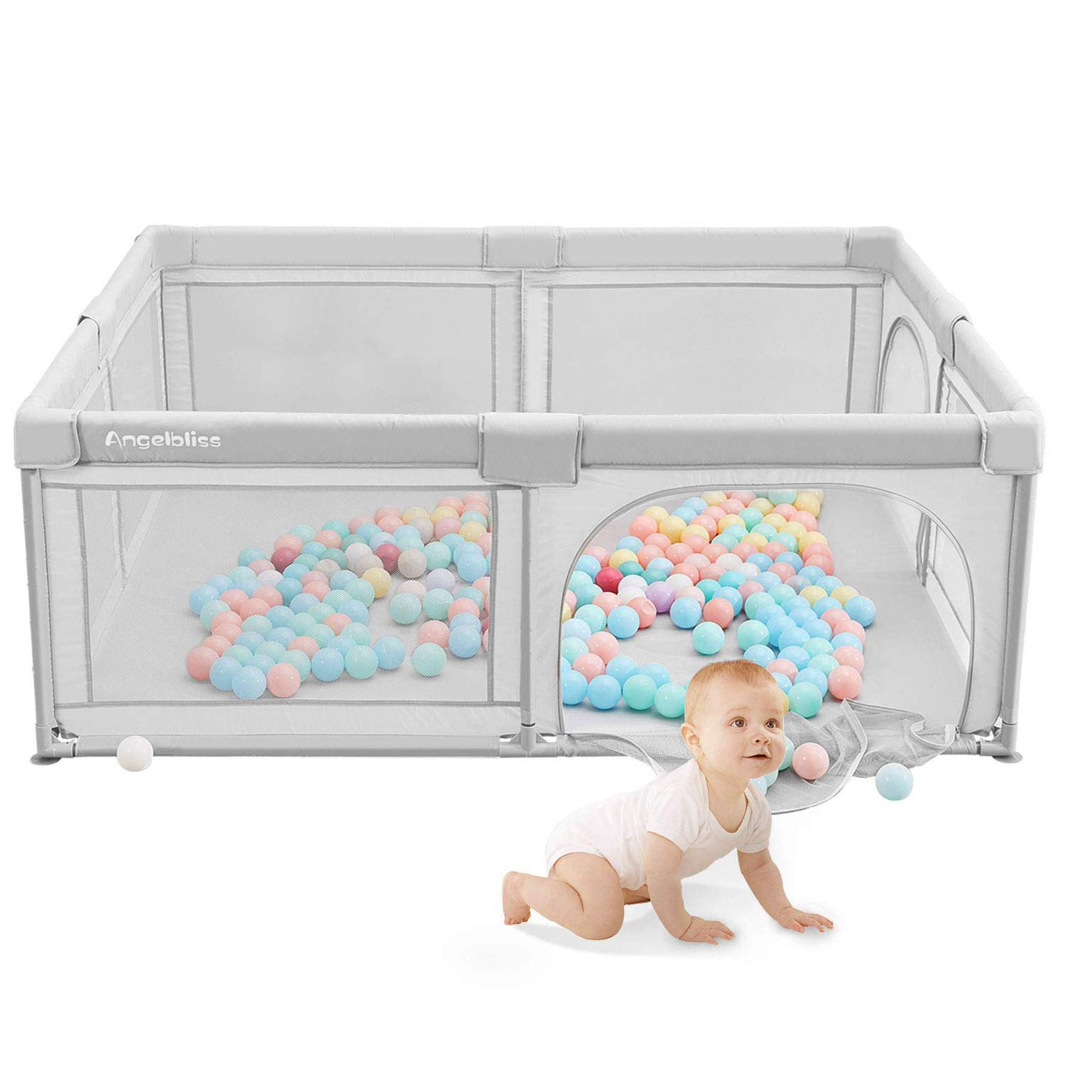 ANGELBLISS Baby playpen, Playpens for Babies, Kids Safety Play Center Yard Portable Playard Play Pen with gate for Infants and Babies,Extra Large Playard, Indoor and Outdoor, Anti-Fall Playpen(Gray)