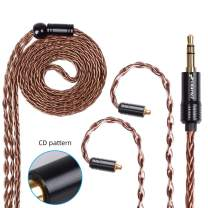 FDBRO 8-core Earphone Upgrade Cable CD Texture Plug Replacement Cable Ear-Hook Type OFC Silver Plated Earphone Cable for SE215 SE315 SE425 SE535 SE846 UE900 FH1 F9 (MMCX, Bronze+3.5mm)