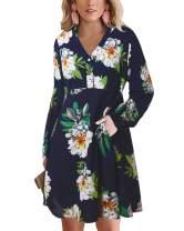 BONESUN Button Down Dress for Women Short Sleeve V Neck Dresses Summer Beach Sundress