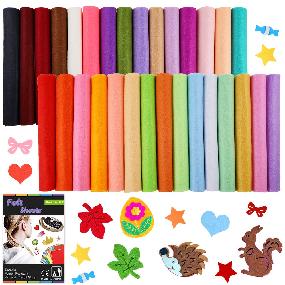 """Caydo 30 Pcs 8"""" x 12"""" Adhesive Backed Felt Fabric Sheets, Assorted Color Felt Sheet for Sewing DIY Craft"""