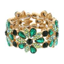 SP Sophia Collection Women's Floral Austrian Crystal Bangle Stretch Rhinestone Bracelet