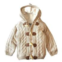 Miccina Baby Toddler Boys Girls Hooded Cable Knit Cardigan Sweater Cotton Warm Christmas Jacket Coat Outwear