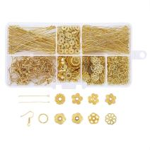 Pandahall 1 Box Jewelry Making Supplies Kits with Earring Hooks/Bead Caps/Eyepins/Jump Rings (Golden)