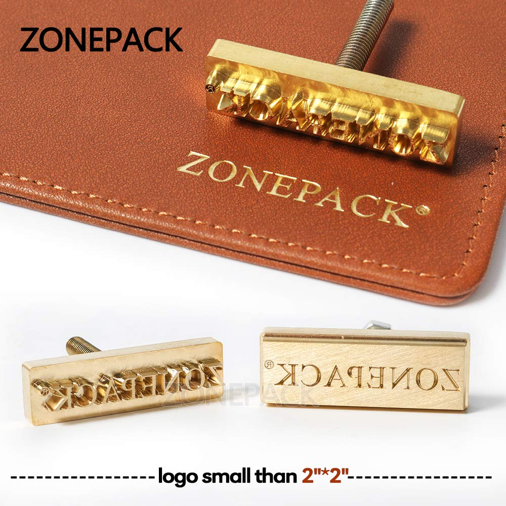 ZONEPACK Custom Logo Hot Foil Stamping Brass Mold Branding Iron Wood Burning Stamp Heating for Leather Wood Paper (Small Than 2''x2'' with 0.19'' Hole on Back)