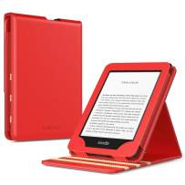 TiMOVO Case Compatible for All-New Kindle (10th Generation, 2019 Release), Shockproof Vertical Flip Stand Cover Shell with Auto Wake/Sleep Fits Amazon Kindle, Not Fit Kindle Paperwhite - Red