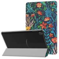 MoKo Case Fits All-New Amazon Kindle Fire 7 Tablet (9th Generation, 2019 Release), PU Leather Trifold Stand Cover Frosted Clear Backshell with Auto Wake/Sleep - Jungle Night