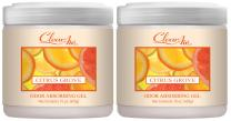 Clear Air Odor Absorber Gel - Air Freshener - Absorbs and Eliminates Odors in Bathrooms, Cars, Boats, RVs and Pet Areas - Made with Natural Essential Oils - 2 Pack (2 x 15 OZ) (Citrus Grove)