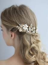 AW BRIDAL Wedding Crystal Hair Pins Flower Rhinestone Bridal Hair Clip Wedding Hair Piece Rose Gold Hair Accessories for Bride Bridesmaid