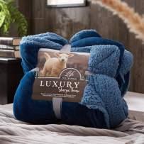 "Joyreap Warm Sherpa Throw Blanket, Reversible Flannel Fleece Fluffy Berber Blanket, Cozy Soft & Breathable Microfiber Winter Blanket for Couch Sofa, Choice (Blue01,Twin,60""x78"")"