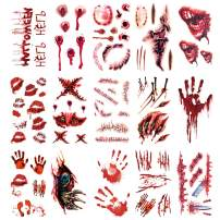 Oottati 15 Pieces Small 3D Halloween Scar Wound Blood Fingerprint Hand Needle Eye Arm Face Temporary Tattoo