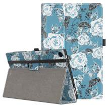 VORI Case for All-New Amazon Fire HD 10 Tablet (9th/7th/5th Gen,2019/2017/2015 Release), Folio Folding Smart Stand Cover with Hand Strap and Auto Wake/Sleep for Fire HD 10.1'', Roses and Butterflies