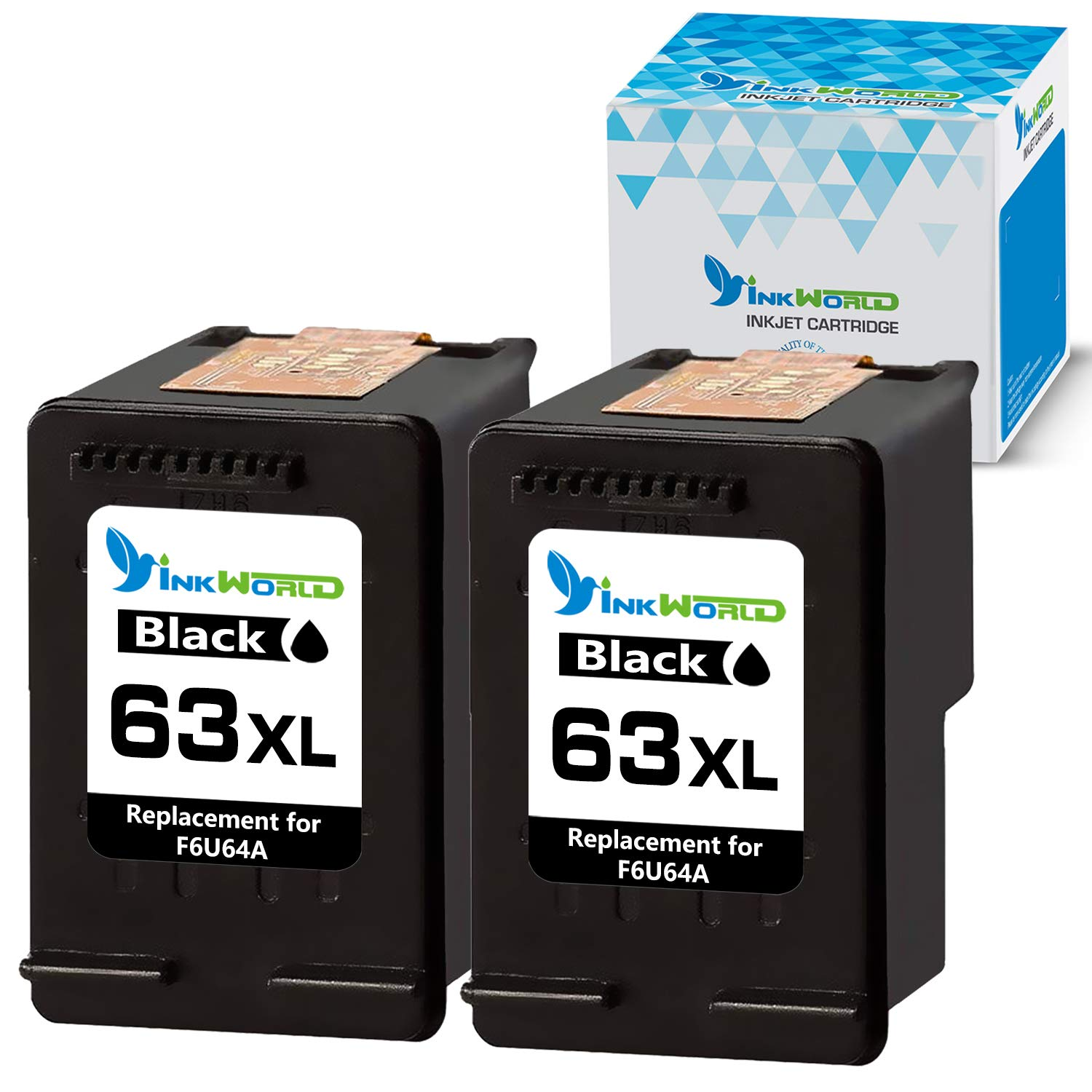 InkWorld Remanufactured 63XL 2-Pack Ink Cartridge Replacement for HP 63 XL to Use with OfficeJet 5255 3830 3834 4650 4655 4652 DeskJet 1112 3630 3634 2132 3639 3636 3632 Envy 4520 Printer (2 Black)