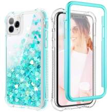 Caka Glitter Case for iPhone 11 Pro Max Case Liquid Bling Full Body for Girls Women Shining Love Flowing Floating Protective Luxury Clear Phone Case for iPhone 11 Pro Max (2019)(Teal)