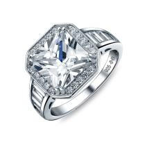 Art Deco Style 5CT AAA CZ Baguette Halo Square Princess Cut Promise Engagement Ring For Women Sterling Silver