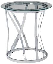 Lane Home Furnishings 7314-47 Rnd Metal/Glass End Tbl-Chrome Round Table