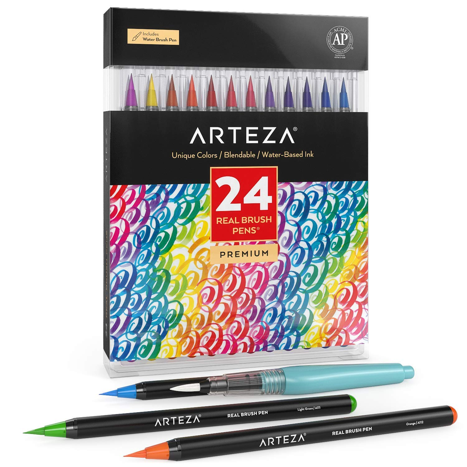 ARTEZA Real Brush Pens, 24Colors for WatercolorPainting withFlexible Nylon BrushTips, Paint Markers for Coloring, Calligraphy and Drawing with Water Brush for Artists and Beginner Painters