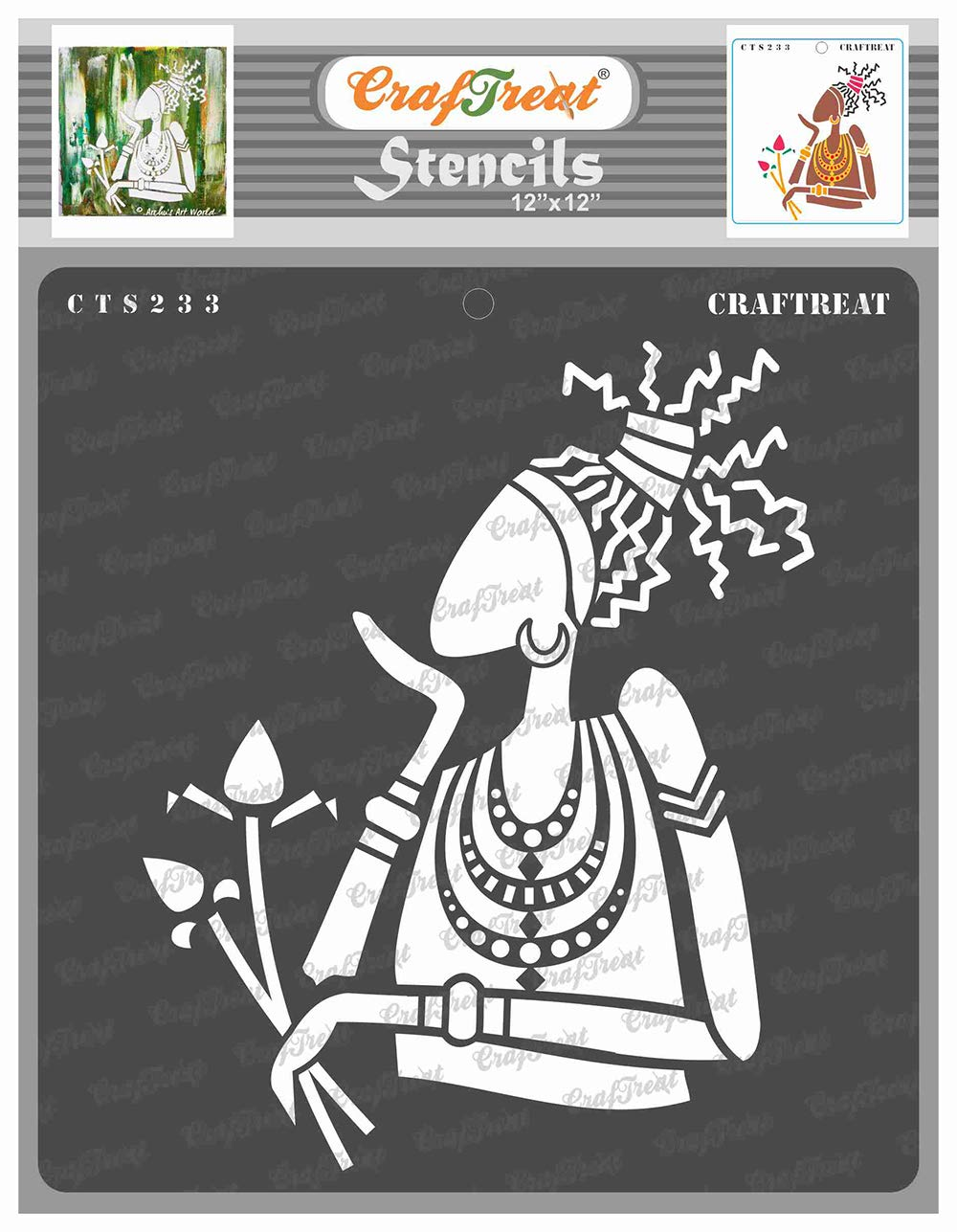 CrafTreat Tribal Stencils for Painting on Wood, Wall, Tile, Canvas, Paper and Floor - Lonely Woman - 12x12 Inches - Reusable DIY Art and Craft Stencils - Tribal Stencil Painting for Wall