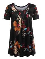 Mofavor Women's Summer Floral Print Round Neck Short Sleeve Swing Tunic Tops Shirts