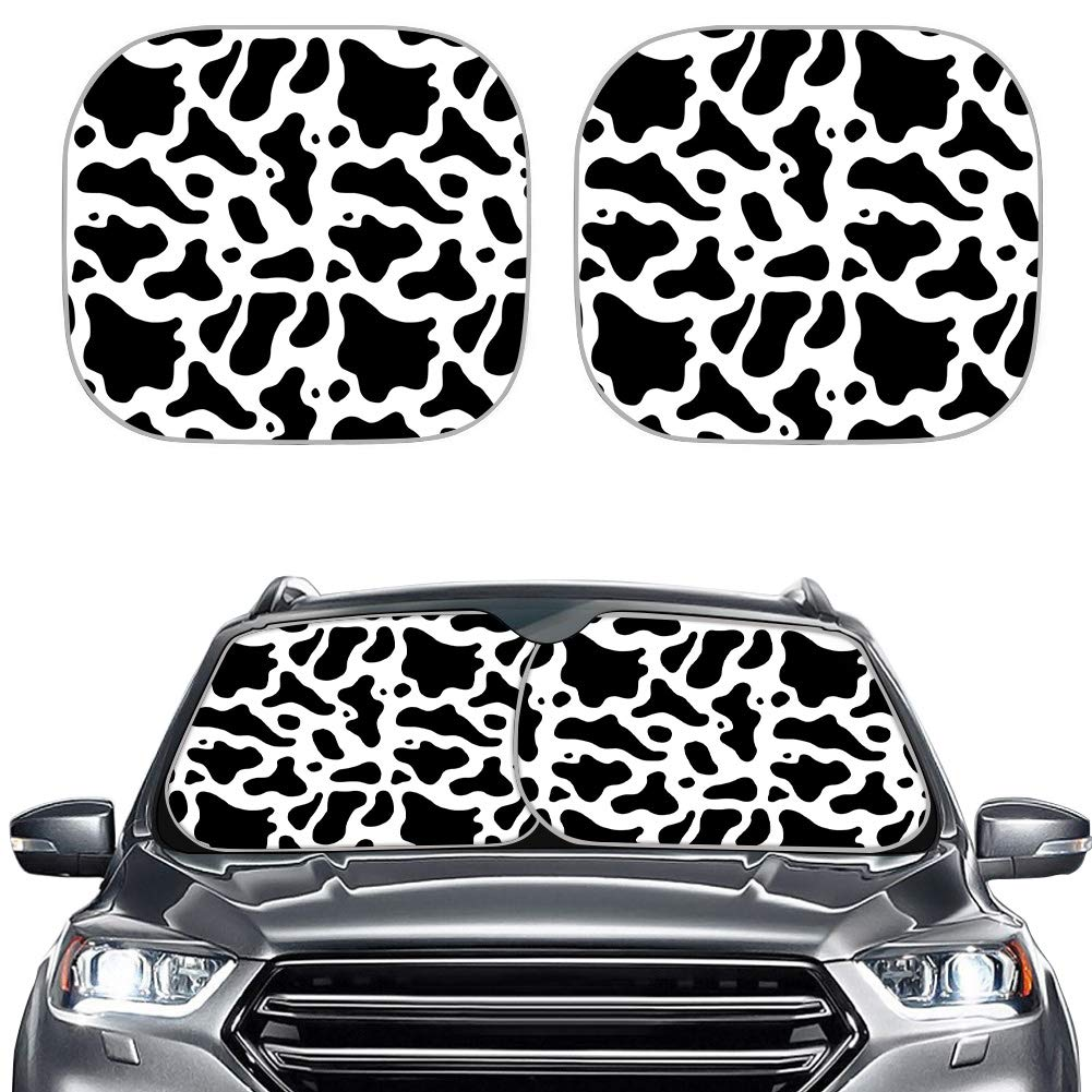 NETILGEN Automotive Windshield Sun Shades, Cute Cow Printed Car Window Sunshades, 2 Packs Foldable Auto Protector Cover for Front Window, Heat Sun Block