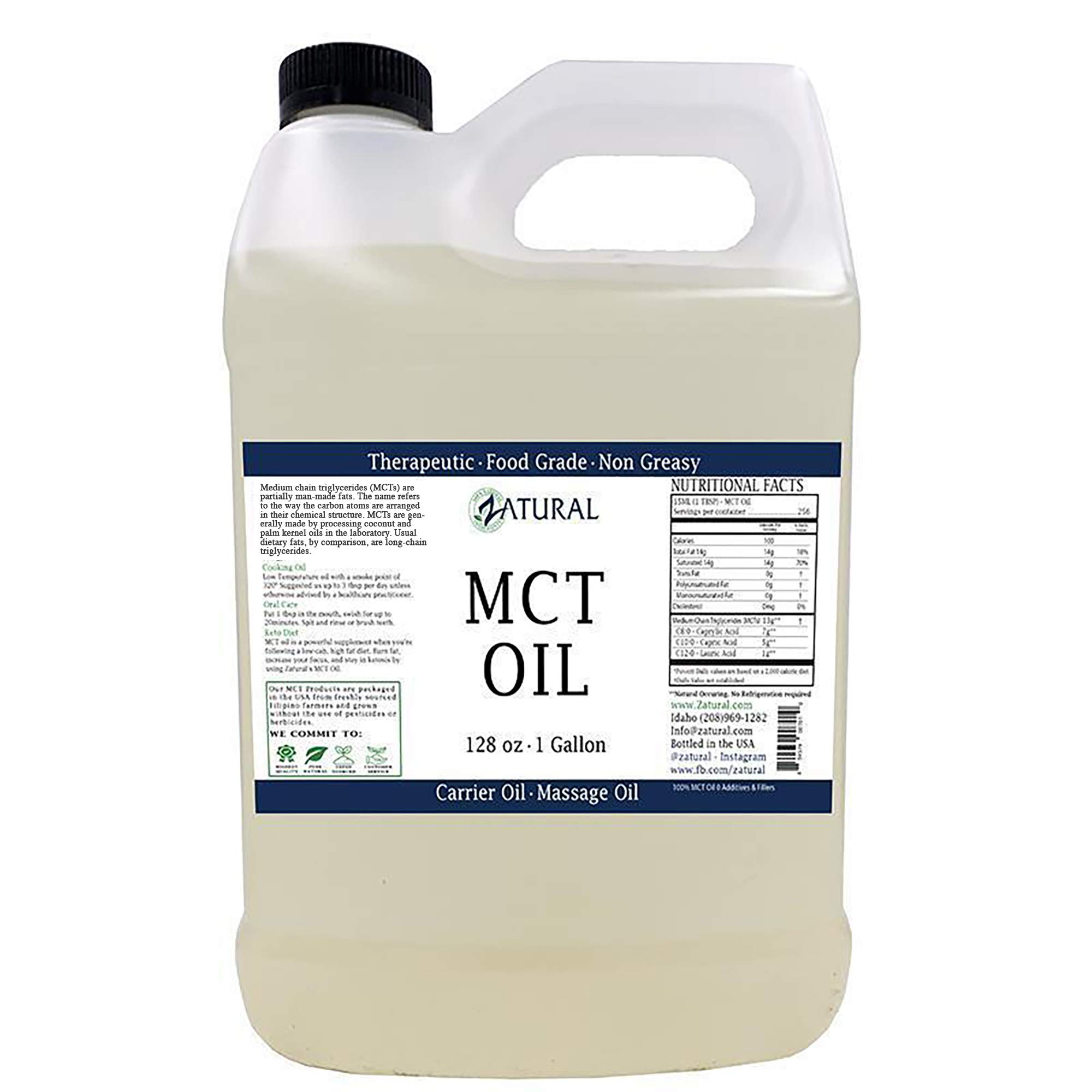 MCT Oil, Certified Food and Therapeutic Grade, Carrier Oil, Massage Oil, Hydrating Oil, Hair Oil, 0 Additives, Pure MCT Oil (128 Ounce (1Gallon))