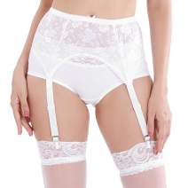 STYGIFT Women's 4 Straps Sexy Garter Belt Black & White Floral Lace Sexy Lingerie Metal Clips