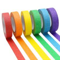 6 Rolls Colored Masking Tape 0.6 inch Wide, Rainbow Colors Painters Tape, Craft Tape Ideal for Bullet Journals, Labeling, Party Decorations, DIY Craft, 16 Yard Per Roll