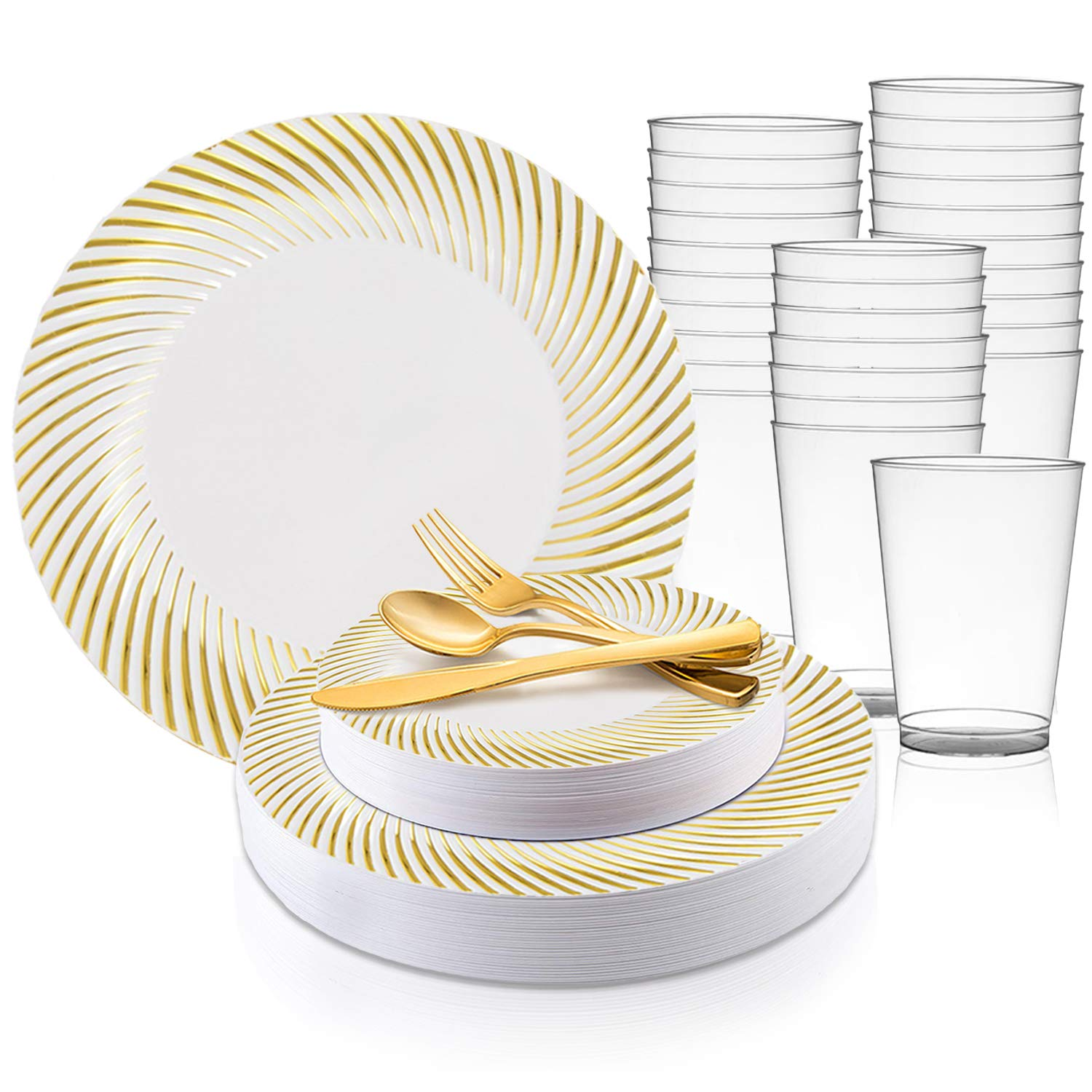 Kaya Collection Swirl Gold Disposable Plastic Dinnerware Party Package Includes Dinner Plates Salad Dessert Plates Gold Cutlery Tumblers 120 Person Package